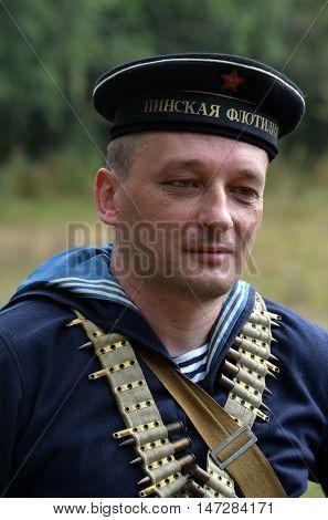 An unidentified person wears historical Soviet uniform . At September 10,2016 in Kiev, Ukraine