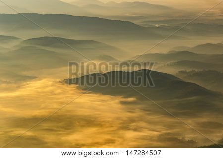 Layer of mountains and mist at sunrise time Landscape at Doi Luang Chiang Dao High mountain in Chiang Mai Province Thailand