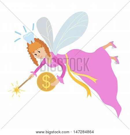 Tooth fairy with a magic wand wector illustration isolated on white background