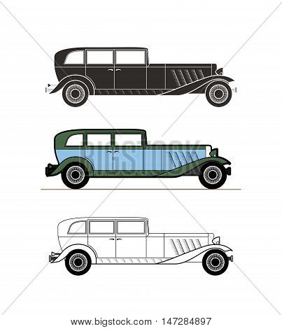 Retro car vintage collection, classic garage sign, vector illustration background, can be used for design card infographics