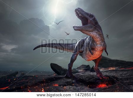 3D rendering of Tyrannosaurus Rex near extinction.