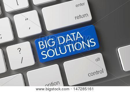 Concept of Big Data Solutions, with Big Data Solutions on Blue Enter Keypad on Modern Laptop Keyboard. 3D Illustration.