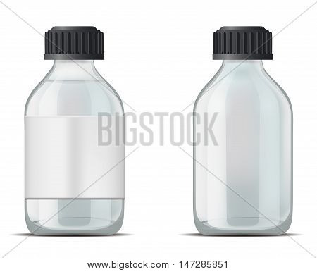 Glass medicine bottle with screw cap. Mock up