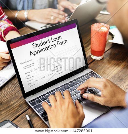 Student Loan Application Form Registration Concept