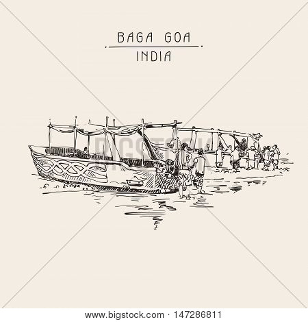 India Baga Beach sketch drawing with two boats ashore, retro style travel poster postcard template with hand lettering inscription, vector illustration