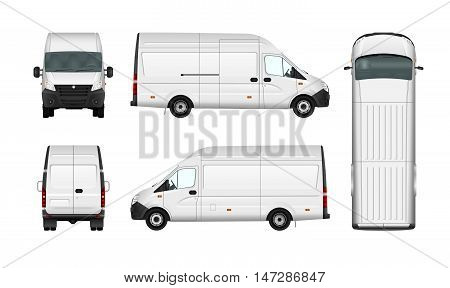 Cargo van vector illustration blank on white. City commercial minibus. Isolated delivery vehicle.