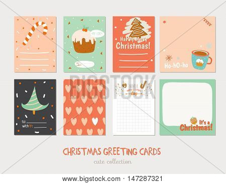 Collection of Cute Vector Journaling Cards, Notes, Stickers, Labels, Tags with Winter Christmas Illustrations and Wishes. Template for New 2017 Year Greeting Scrapbooking, Congratulations, Invitations
