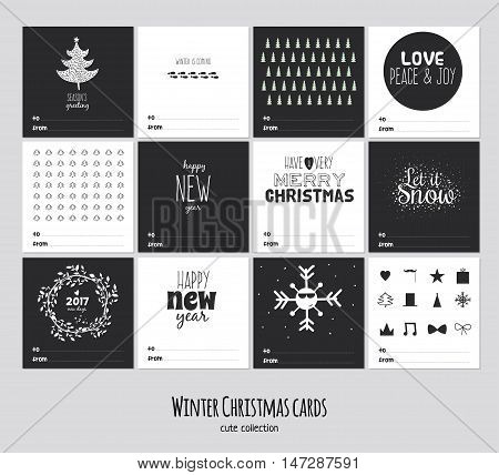 Big set of square black and white winter cards. Merry Cristmas and Happy New 2017 Year background. Cute illustration with holiday wishes. Isolated. Vector
