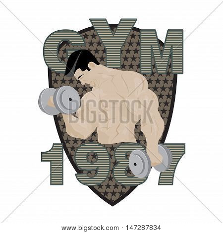 Gym fitness emblem, badges, logo and designed element. Gym fitness logo muscle body weight bodybuilding. Strong people club vector gym fitness logo icon