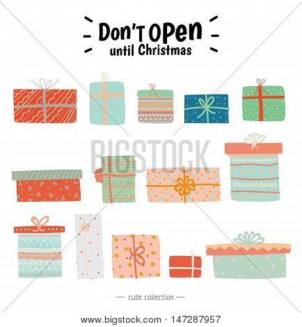 Vintage Christmas and New Year elements. Vector illustration. New Year toys and decorations. Isolated. Christmas typography and wishes. Good for winter design, cards or posters. White background.