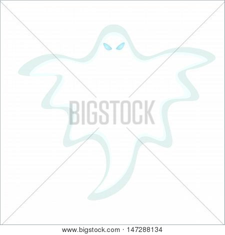 Cartoon Ghost vector illustration, isolated white Ghost