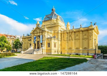 View at Art Pavilion exterior facade in Zagreb, famous landmark in capital town of Croatia.