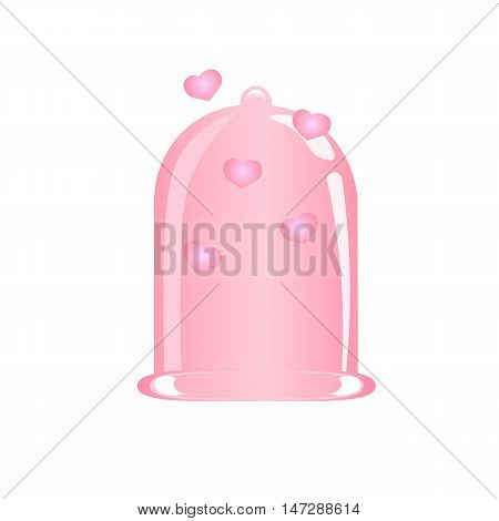 Pink Condom, Vector Illustration, the concept of safe sex