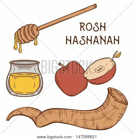 Traditional symbols of Rosh Hashanah (jewish New Year holiday). Honey, ram horn Shofar and apple on aged paper background. Concept design for Shana Tova greeting card. Vintage vector illustration