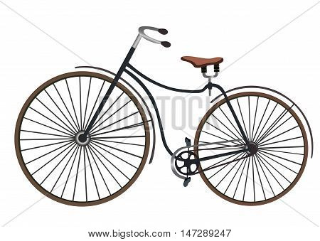 Vintage women's bicycle isolated on white background flat cartoon vector illustration. Eps10