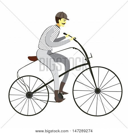 Retro gentleman with mustaches on a bicycle on old city background. Man riding bike Vector.