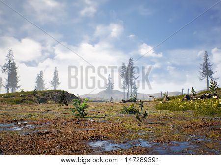 3D rendering of prehistoric Hell Creek about 67 million years ago.