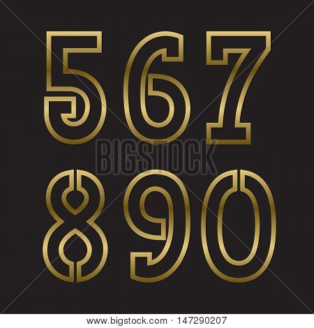 Five six seven eight nine zero gold stamped numbers. Trendy and stylish golden font.