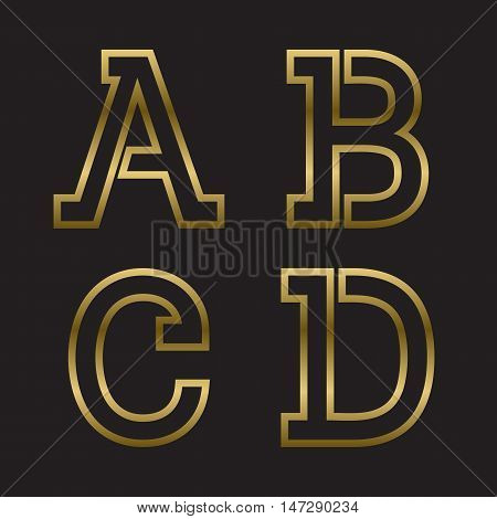 A B C D gold stamped letters. Trendy and stylish golden font.
