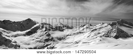 Black And White Panorama Caucasus Mountains In Snow Winter