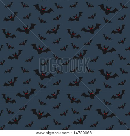 Halloween seamless pattern flying bats on dark blue sky background mystery horror holiday vector flat illustration All Saints Day symbols
