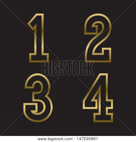 One two three four gold stamped numbers. Trendy and stylish golden font.