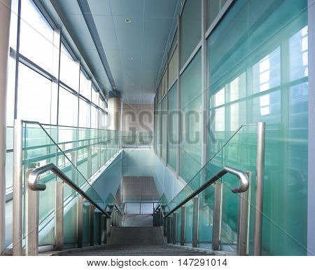Building Interior Stairway With Glass Windows