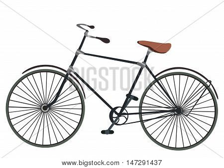 Vintage men's bicycle isolated on white background. Classic bicycle vector. Old bike, detailed vector illustration.