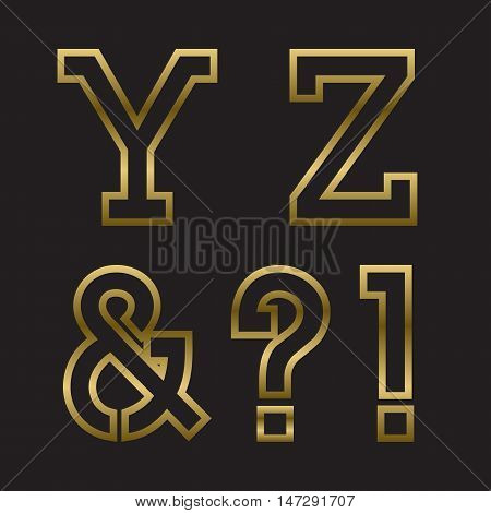 Y Z gold stamped letters ampersand exclamation and question marks. Trendy and stylish golden font.