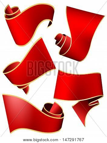 Swirl red ribbon on white background. Vector illustration