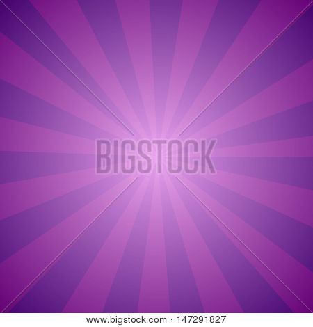 Bright abstract purple cartoon background with repeated violet stripes around the center. Retro circus tent wallpaper. The sign of mystery in the West and universal harmony in the East. Party posters design