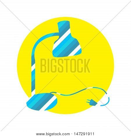 Table lamp stripped design isolated on the white background with yellow flat circle. Desk lamp icon with wire and plug for modeling interior design. Business identity element for electric company