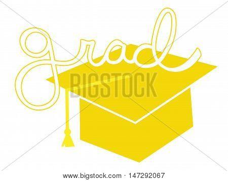 Isolated Yellow Grad Graduate Cap and Tassel