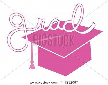Isolated Pink Grad Graduate Cap and Tassle