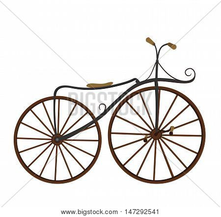 Retro bike flat cartoon vector illustration. Eps10. Isolated on a white background.