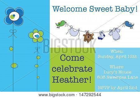 Cute Blue Baby Shower Invite Invitation Announcement