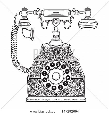 Vintage phone with floral ornament. Hand drawn vector illustration