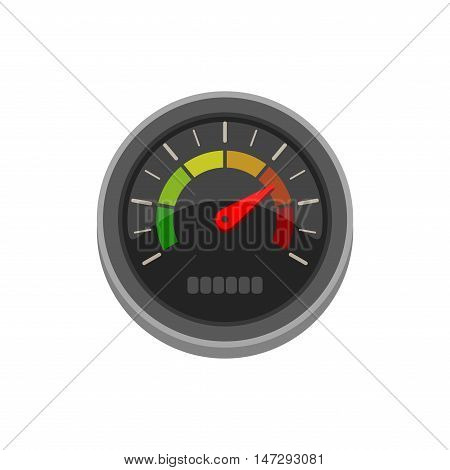 Vector icon tachometer, speedometer, performance measurement with arrow and gradations. Colorful vector illustration isolated on white background.