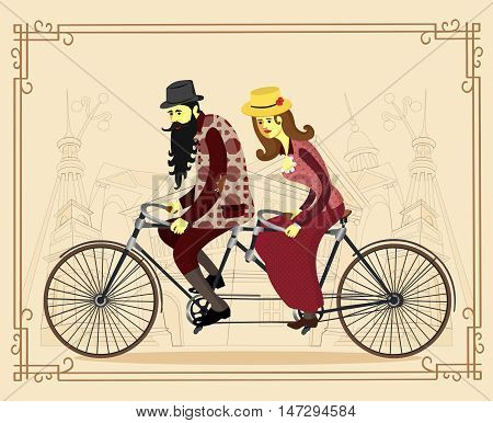 Cool vector flat design happy mature man and woman characters couple riding tandem bicycle isolated. Love couple. Valentine's day greeting card. Vector cartoon illustration.