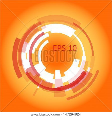 Abstract cyber orange background with a technical ring in the center. Geometrical shapes on the yellow background. Beautiful vector detail for your futuristic web-design.