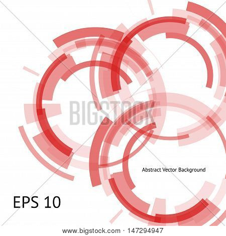 Abstract cyberred background with technical rings in the center. Geometrical shapes on the white background. Beautiful vector detail for your futuristic web-design.