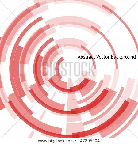 Abstract cyber background with technical rings in the center. Red geometrical shapes on the white background. Beautiful vector detail for your futuristic web-design.