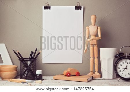 Designer artistic desk website header hero image with blank poster mock up