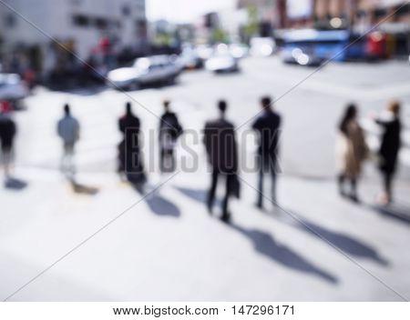 Blur People walk on street at cross intersection Urban Lifestyle