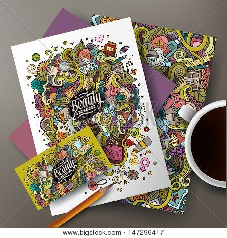 Cartoon cute colorful vector hand drawn doodles cosmetic corporate identity set. Templates design of business card, flyers, posters, papers on the table.