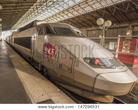 Paris France - February 15 2016: SNCF high speed train parked in Gare du Nord from Paris France on 15 February 2016