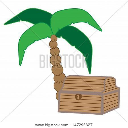 Palm Tree with Pirate Gold Coin Treasure Chest