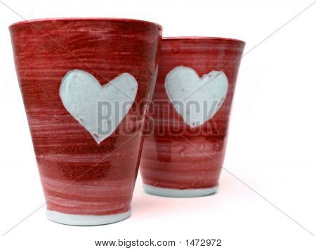 Tazas de amor rojo