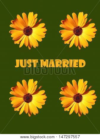 Abstract creative floral just married greeting card scene