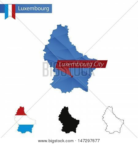 Luxembourg Blue Low Poly Map With Capital Luxembourg City.